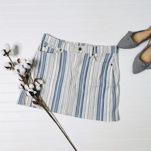Two by Vince Camuto White Blue Striped Denim Skirt